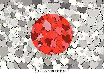 cœurs, drapeau, fait, fond, japon