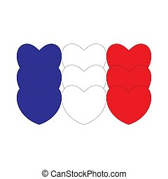 cœurs, drapeau, fait, france