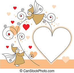 cœurs, elfes, carte voeux