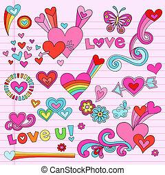 cœurs, ensemble, amour, doodles, valentines
