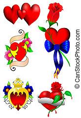 cœurs, ensemble, amour