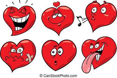 cœurs, ensemble, dessin animé