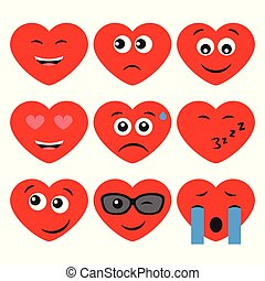 cœurs, ensemble, neuf, dessin animé, émotions