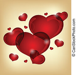 cœurs, ensemble, valentin