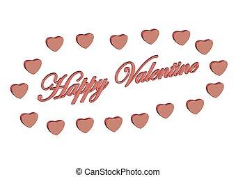 cœurs, entouré, heureux, valentin