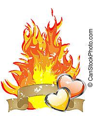cœurs, et, brûler