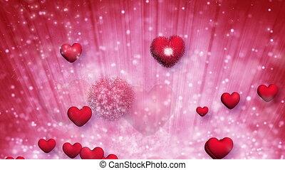 cœurs, explosif, rouges, éclatement, boucle