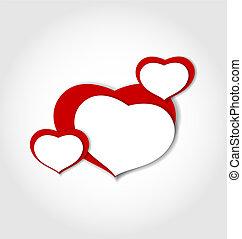 cœurs, fait, autocollants, fond, valentin