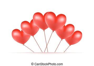 cœurs, fait, ballons, arrière-plan rouge