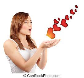 cœurs, femme, rouges, souffler