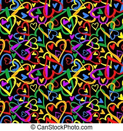 cœurs, fierté gaie, coloré, seamless, arc-en-ciel, pattern.