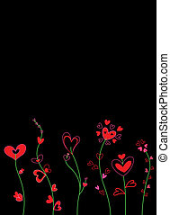 cœurs, fleurs, carte