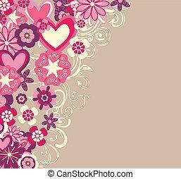 cœurs, fleurs, fond