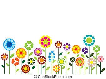 cœurs, fleurs, vecteur