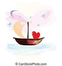 cœurs, flotter, carte, bateau