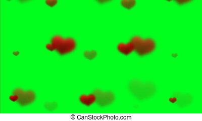 cœurs, flotter, vert, écran