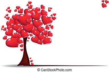 cœurs, fond, arbres