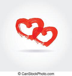 cœurs, fond, deux, petite amie, rouges