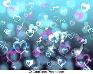cœurs, fond, moyens, aimer, associé, famille, ou, amis