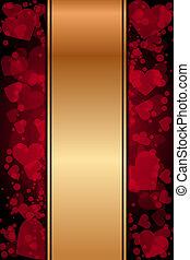cœurs, fond, or, rouges