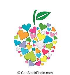 cœurs, forme, fait, pomme