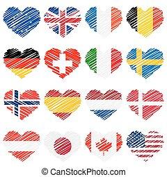 cœurs, gribouiller, drapeaux, pays