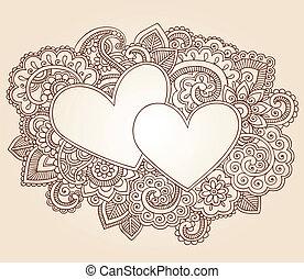 cœurs, henné, amour, valentines, griffonnage