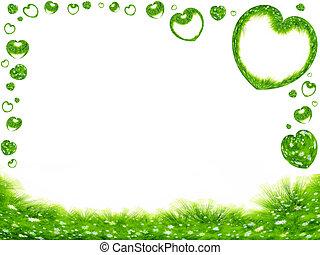 cœurs, herbe, frontière, vert