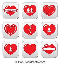 cœurs, icônes, ensemble, amour, valentines