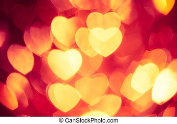 cœurs, incandescent, arrière-plan rouge