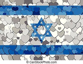 cœurs, israël, fait, drapeau, fond