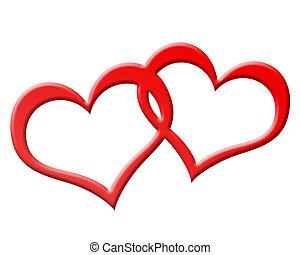 cœurs, jioned, deux, ensemble, rouges