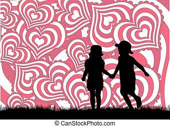 cœurs, jour, fond, valentine