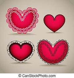 cœurs, jour, ornamentel, petite amie, rouges