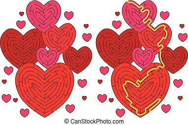 cœurs, labyrinthe