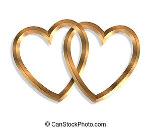 cœurs, lié, or, 3d