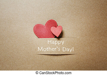 cœurs, message, heureux, jour, mères