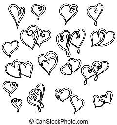 cœurs, mettez stylique, ton, valentin