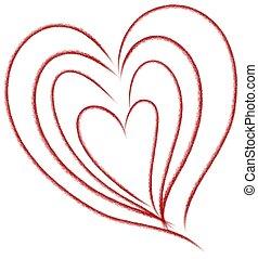 cœurs, niché, art, agrafe, griffonnage