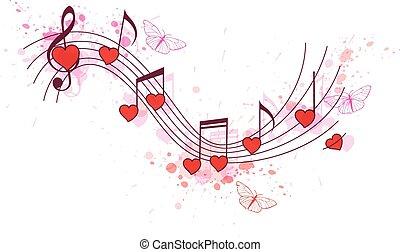 cœurs, notes, rouges