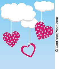 cœurs, nuages, pendre