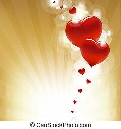 cœurs, or, fond, étoile