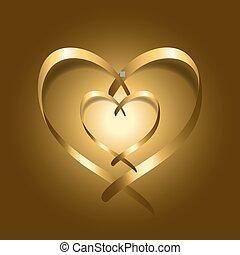 cœurs, or, soie, deux, ruban