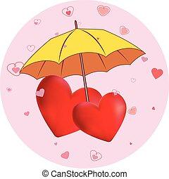cœurs, parapluie, jaune