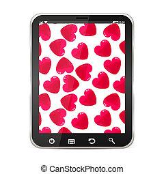 cœurs, pc tablette