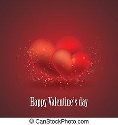 cœurs, petite amie, jour, carte