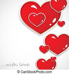 cœurs, petite amie, jour, fond