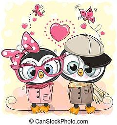 cœurs, pingouins, deux, fond