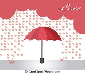 cœurs, pluie
