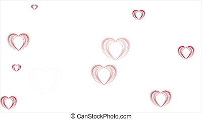 cœurs, résumé, animation, vidéo, rouges